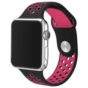 Apple Watch 38mm / 40mm - Sportbandje - Zwart + Roze - M/L