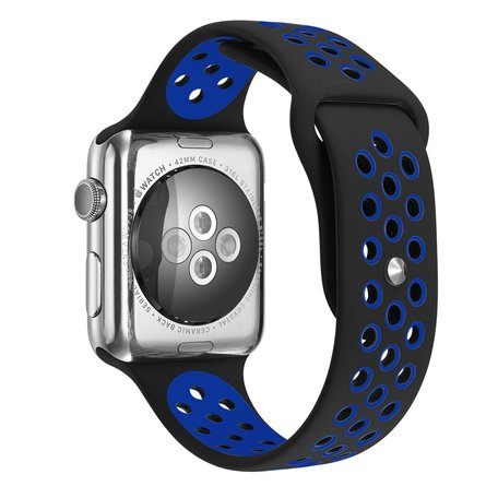 Apple Watch 38mm / 40mm - Sportbandje - Zwart + Blauw - M/L