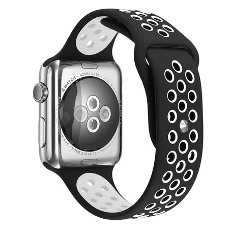 Apple Watch 38mm / 40mm - Sportbandje - Zwart + Wit - Maat: M/L