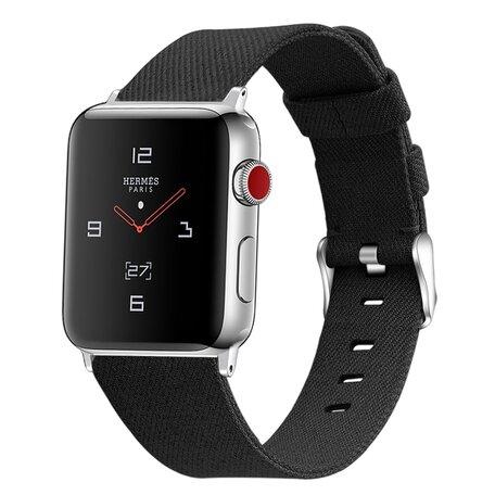 Canvas bandje - Zwart - Geschikt voor Apple Watch 42mm / 44mm