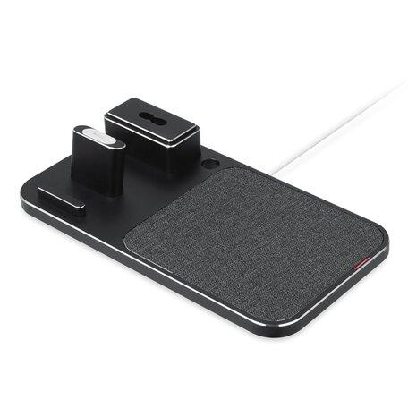 3 in 1 oplader geschikt voor Apple Pencil & AirPods & iPhone - Zwart