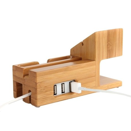 Houten houder - Bamboe (incl. USB poorten) - Geschikt voor Apple watch / iPhone