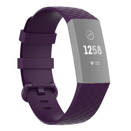 Fitbit Charge 3 & 4 siliconen diamant pattern bandje (Small)  - Donker paars