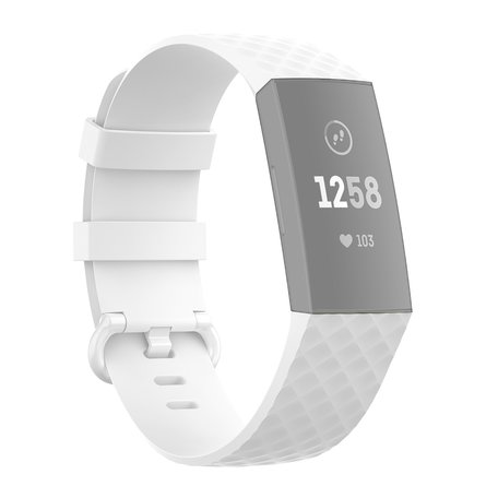 Fitbit Charge 3 & 4 siliconen diamant pattern bandje (Large) - Wit