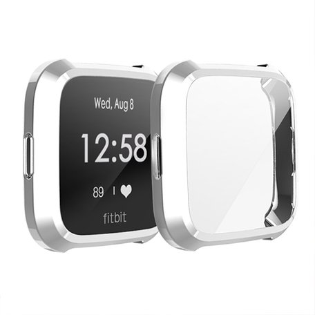 Fitbit Versa Lite Soft TPU case (volledig beschermd) - Zilver
