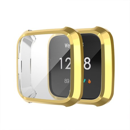 Fitbit Versa Lite Soft TPU case (volledig beschermd) - Goud