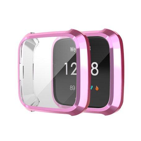 Fitbit Versa Lite Soft TPU case (volledig beschermd) - Roze