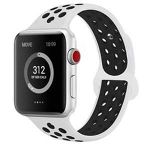 Apple Watch 38mm / 40mm - Sportbandje - Wit + Zwart - Maat: S/M