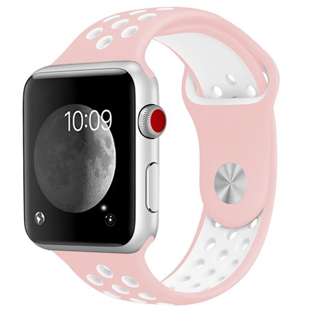 Apple Watch 38mm / 40mm - Sportbandje - Roze + Wit - Maat: S/M