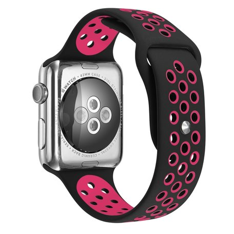 Apple Watch 38mm / 40mm - Sportbandje - Zwart + Roze - Maat: S/M