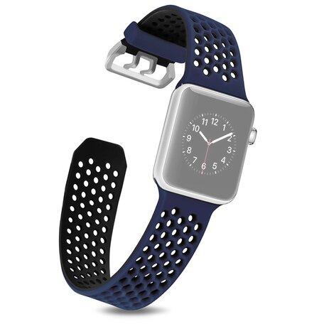 Bandje met gaatjes - 2 kleuren - Blauw met zwart - Geschikt voor Apple Watch 38mm / 40mm / 41mm