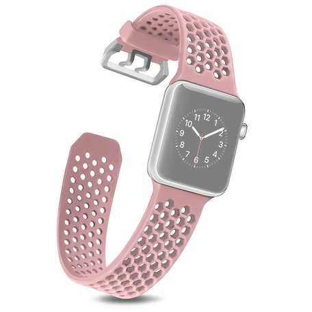 Bandje met gaatjes - Lichtroze - Geschikt voor Apple Watch 38mm / 40mm / 41mm
