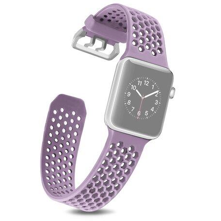 Bandje met gaatjes - Lichtpaars - Geschikt voor Apple Watch 38mm / 40mm / 41mm