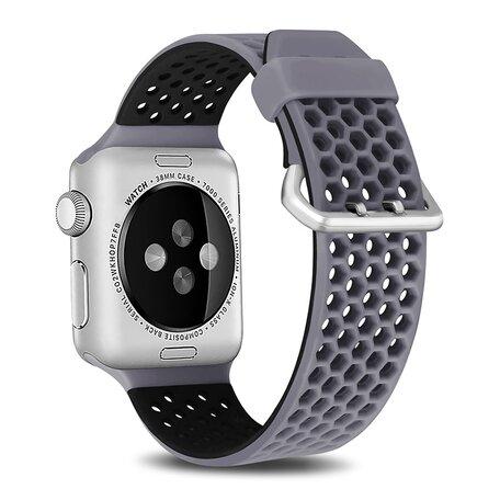Bandje met gaatjes - 2 kleuren - Grijs met zwart - Geschikt voor Apple Watch 38mm / 40mm / 41mm