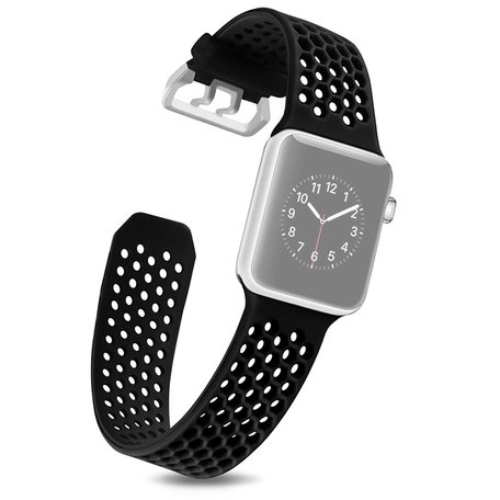 Bandje met gaatjes - Zwart - Geschikt voor Apple Watch 38mm / 40mm / 41mm