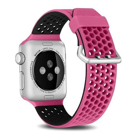 Bandje met gaatjes - 2 kleuren - Roze met zwart - Geschikt voor Apple Watch 42mm / 44mm / 45mm