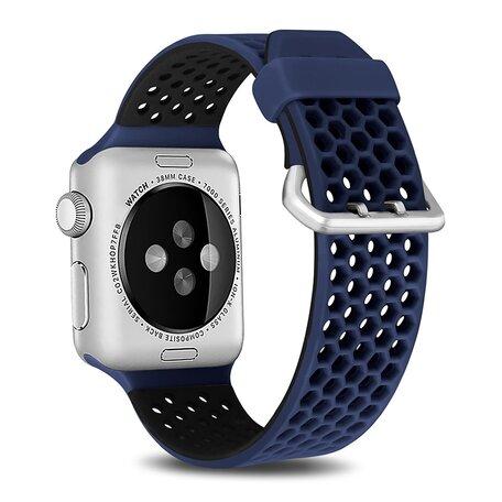 Bandje met gaatjes - 2 kleuren - Blauw met zwart - Geschikt voor Apple Watch 42mm / 44mm / 45mm