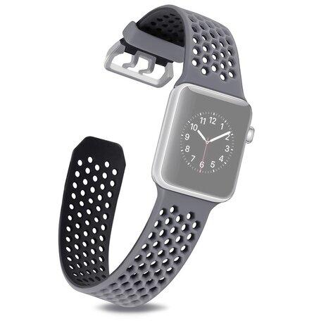 Bandje met gaatjes - 2 kleuren - Grijs met zwart - Geschikt voor Apple Watch 42mm / 44mm / 45mm