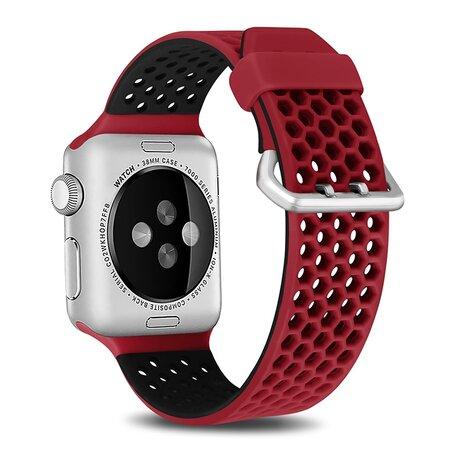 Bandje met gaatjes - 2 kleuren - Rood met zwart - Geschikt voor Apple Watch 42mm / 44mm / 45mm