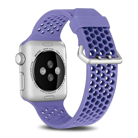 Bandje met gaatjes - Lavendel - Geschikt voor Apple Watch 42mm / 44mm / 45mm