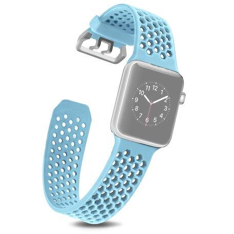 Bandje met gaatjes - Lichtblauw - Geschikt voor Apple Watch 42mm / 44mm / 45mm
