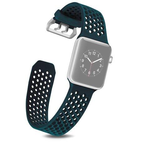 Bandje met gaatjes - Groen - Geschikt voor Apple Watch 42mm / 44mm / 45mm