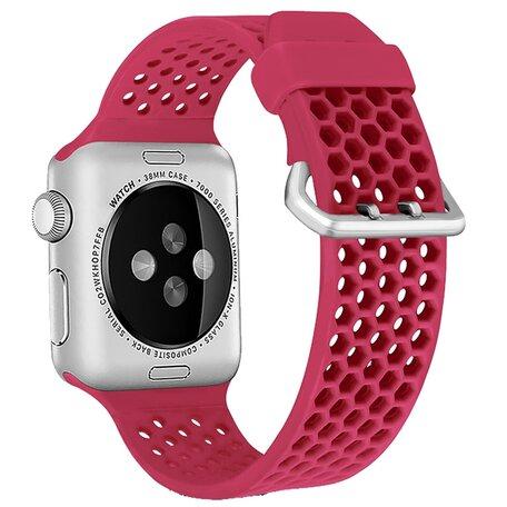 Bandje met gaatjes - Rood - Geschikt voor Apple Watch 42mm / 44mm / 45mm