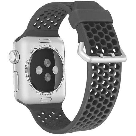 Bandje met gaatjes - Grijs - Geschikt voor Apple Watch 42mm / 44mm / 45mm