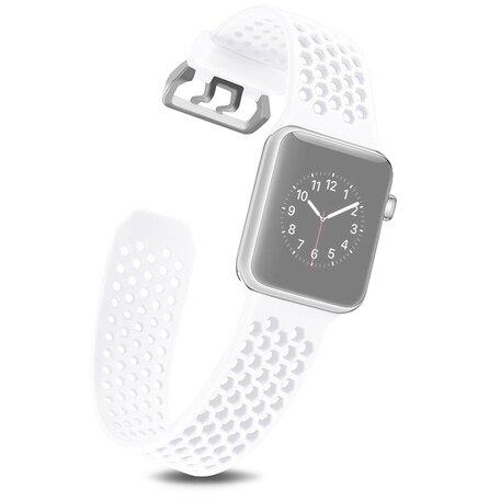 Bandje met gaatjes - Wit - Geschikt voor Apple Watch 42mm / 44mm / 45mm