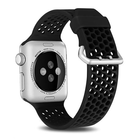 Bandje met gaatjes - Zwart - Geschikt voor Apple Watch 42mm / 44mm / 45mm