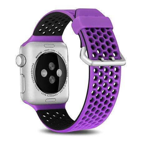Bandje met gaatjes - 2 kleuren - Paars met zwart - Geschikt voor Apple Watch 38mm / 40mm / 41mm