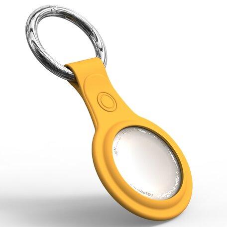 AirTag case - TPU Hard siliconen hoesje voor Apple AirTags, met sleutelclip - geel