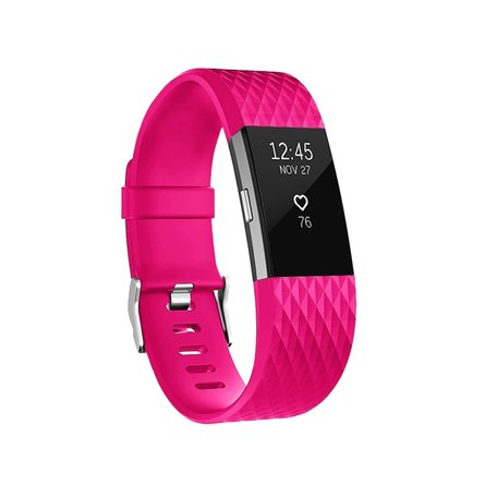 Fitbit Charge 2 siliconen bandje - Maat: Small - Magenta