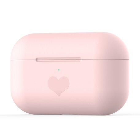 AirPods Pro met hartje - Siliconen hoesje - Roze