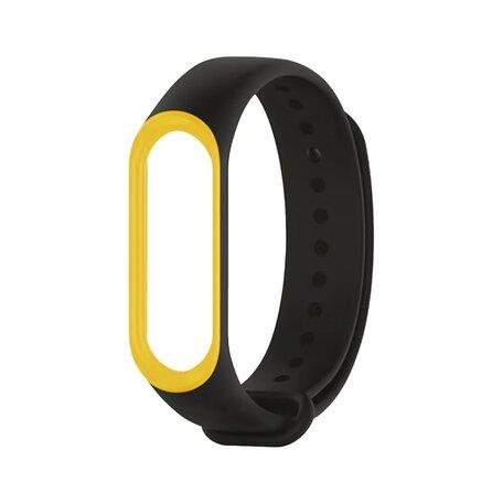 Xiaomi Mi band 3 / 4 / 5 / 6 bandje Duo color - Zwart met geel