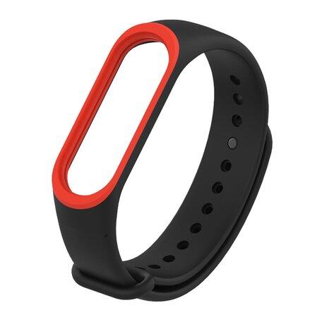 Xiaomi Mi band 3 / 4 / 5 / 6 bandje Duo color - Zwart met rood