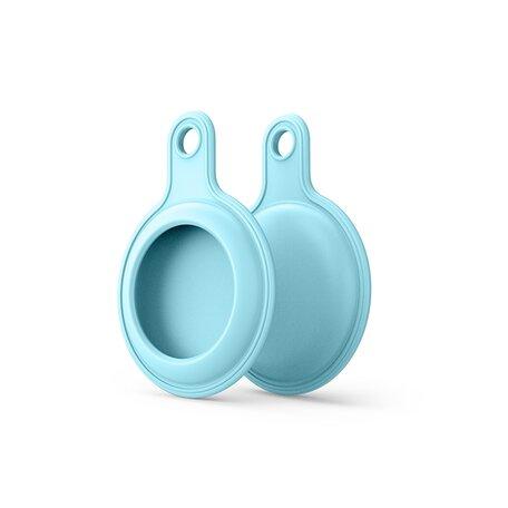 AirTag case gel series - sleutelhanger met ring - lichtblauw
