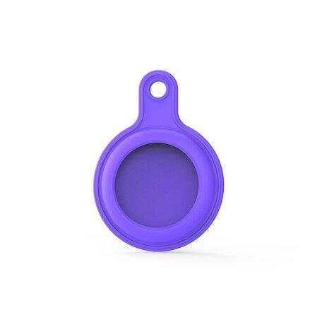 AirTag case gel series - sleutelhanger met ring - donker paars