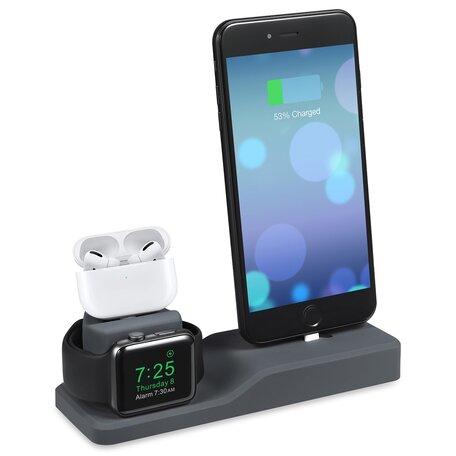 3 in 1 houder geschikt voor Apple Watch & Airpods & iPhone - Grijs