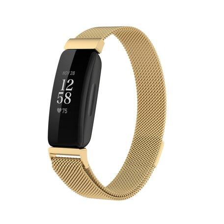 Fitbit Inspire 2 & Ace 3 Milanese bandje - Maat: Small  - Goud