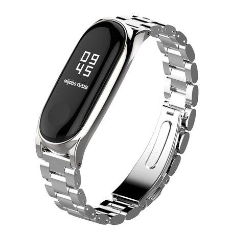 Metalen schakelarmband voor Xiaomi Mi Band 3/4/5/6 - Zilver