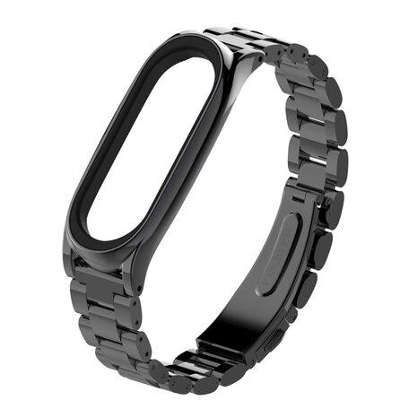 Metalen schakelarmband voor Xiaomi Mi Band 3/4/5/6 - Zwart