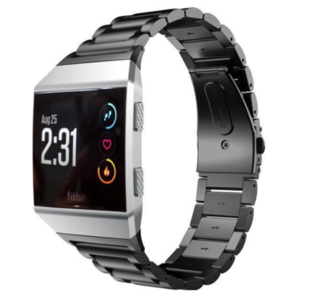 Fitbit Ionic - Schakelarmband Stainless Steel bandje - Zwart