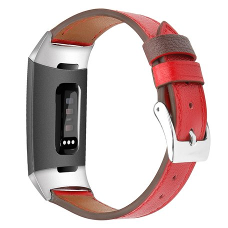 Fitbit Charge 3 & 4 Luxe Lederen bandje - Small - Rood