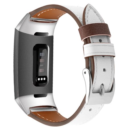 Fitbit Charge 3 & 4 Luxe Lederen bandje - Small - Wit