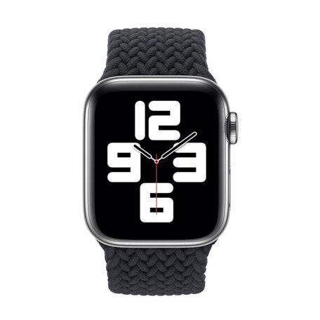 Braided Solo Loop bandje - Maat: L - Zwart - Geschikt voor Apple Watch 38mm / 40mm / 41mm