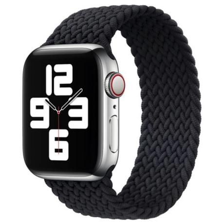 Braided Solo Loop bandje - Maat: S - Zwart - Geschikt voor Apple Watch 38mm / 40mm / 41mm
