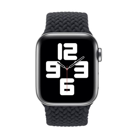 Braided Solo Loop bandje - Maat: L - Zwart - Geschikt voor Apple Watch 42mm / 44mm / 45mm