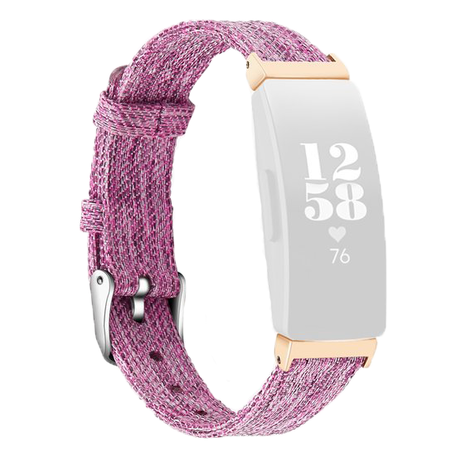 Fitbit Inspire 1 / HR / Ace 2 Canvas bandje - Maat: Large - Paars