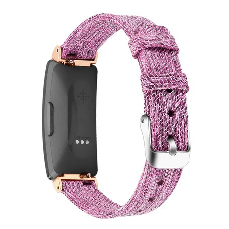 Fitbit Inspire 1 / HR / Ace 2 Canvas bandje - Maat: Small - Paars